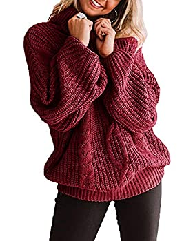 CCBSTS Women s Plus Size Turtleneck Sweater Pullovers Lantern Sleeve Cowl Neck Chunky Knit Loose Jumper Tops Wine Red