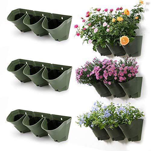 Worth Garden Olive Green Self-Watering 1 Set - 3 Pockets Vertical Wall...