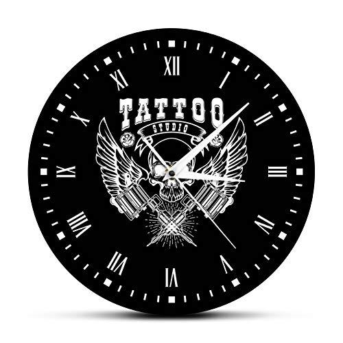 LPHMMD Reloj de Pared Old School Art Tattoo Studio Reloj de Pared Moderno Cráneo y Reloj Tribal Reloj Salon Shop Tattoo Studio Decoración Tattooist Gift 30cm