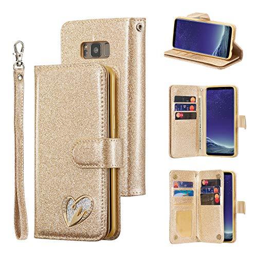 QLTYPRI Hülle für Samsung Galaxy S8, Glitzer Leder Handyhülle mit Kartenfächer Ständer Handschlaufe Herz Diamond Design Magnetische Schutzhülle für Samsung Galaxy S8 - Gold