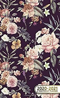 2020-2021 2 Year Pocket Planner: Adorable Watercolor Floral Two-Year Monthly Pocket Planner with Phone Book, Password Log and Notebook. Pretty Small At A Glance Calendar, Organizer, Diary and Agenda.
