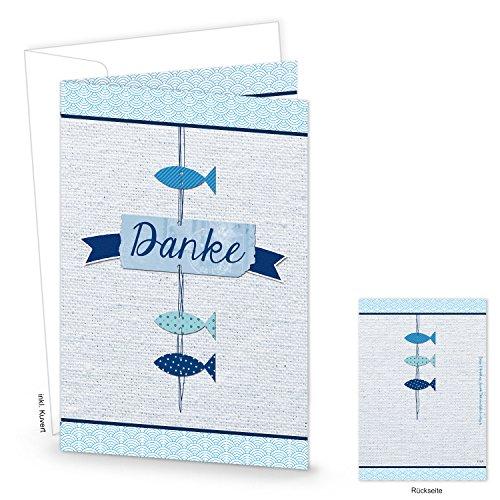 Logbuch-Verlag 10 Danke Karten Dankeskarten FISCHE blau weiß türkis maritim Klappkarte Kinder Geburtstag Kommunion Taufe Hochzeit MIT KUVERT Danksagung