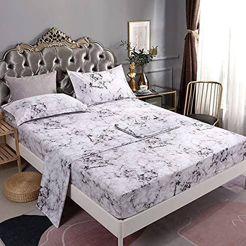 Jogo de lençol de mármore Mengersi – Lençóis de cama brancos de luxo – extra macios – Bolsos profundos – 1 lençol de elástico, 1 lençol liso, 2 fronhas – 4 peças, Branco, Queen