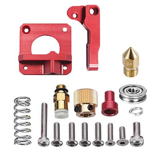 Parti per Estrusori, Estrusore MK8 In Alluminio, Estrusore in Metallo MK8, Lega di Alluminio Rosso Estrusore Stampante 3D per CR-8, CR-10, CR-10S, Filamento da 1,75 mm (Mano Sinistra)