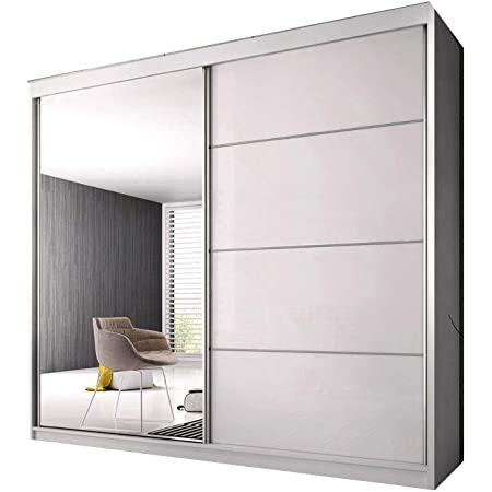 E-MEUBLES Armoire de Chambre avec 2 Portes coulissantes | Penderie (Tringle) avec étagères (LxHxP): 183x218x61 K006 (Blanc Mat/Blanc Semi- Brillant)