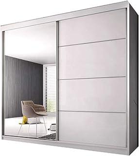 E-MEUBLES Armoire de Chambre avec 2 Portes coulissantes | Penderie (Tringle) avec étagères (LxHxP): 203x218x61 K006 (Blanc...
