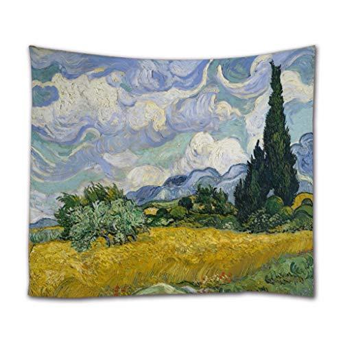 A.Monamour Wandteppiche Weizenfeld Mit Zypressen Von Vincent Van Gogh Ölgemälde Kunstdruck Boho Hippie Mandala Gobelin Wandbehänge Vorhang Tagesdecke Strandtuch Tischdecke 153x102cm