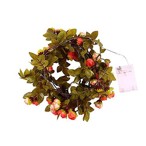 Guirnalda de 30 luces LED artificiales para flores de rosas, funciona con pilas, para San Valentín, boda, dormitorio, fiesta, jardín, decoración interior