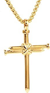 AILUOR Vintage Nail Cross Charm Pendant Necklace, Men's Stainless Steel Christian Chain Jewelry Polished