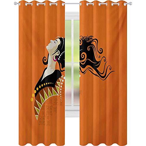 Cortinas opacas para niños, joven de la moda de la mujer retrato con detalles abstractos sobre pelo rizado naranja y pendientes, W52 x L95 cortinas térmicas aisladas para cocina, multicolor