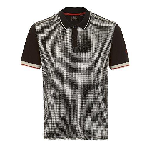 Merc of London Polo Corona imprimé Pied-de-Poule, Noir (Noir), Medium (Taille Fabricant: M) Homme
