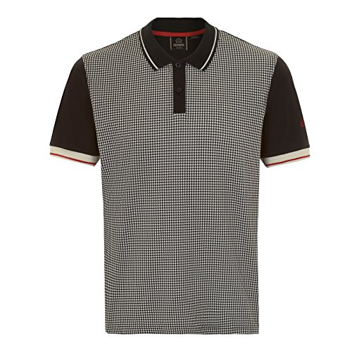 Merc of London Polo Corona imprimé Pied-de-Poule Noir, Medium (Taille Fabricant: M) Homme
