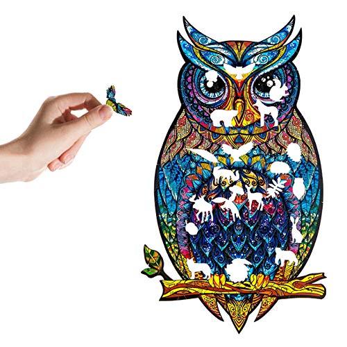 Owl Unique Animal Shape Parts Sticker Puzzle Rompecabezas de forma única Piezas Adultos y niños Owl Puzzle, Best For Family Game Collection