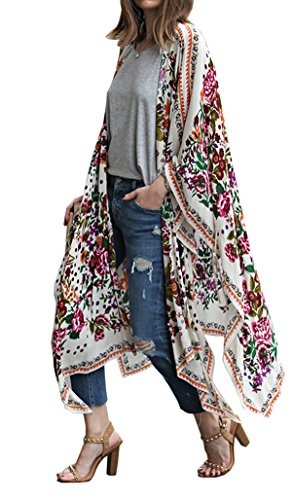 Hibluco Women's Sheer Chiffon Floral Kimono Cardigan Long Blouse Loose Tops Outwear (Small, K 9)