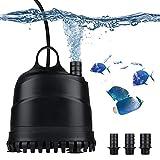 LERWAY Acuario Bomba de Agua Bomba Sumergible para Acuarios Anfibios Estanque Bomba Impermeable Silenciosa para Estanque Fuente Acuario (2500L)