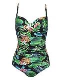 Ekouaer Plus Size Swimwear Women's One Piece Bathing Suit Bikini Tummy Control Swimsuits(PAT5,X-Large)
