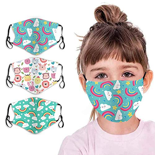 Kids Face Mask Reusable Childrens Cotton Fabric Cloth Face Mask 2 Layer with Adjustable Elastic Ear Loops Facemasks Covering Washable Cute Kawaii Face Masks Girls Boys Rainbow Printed 3 Park