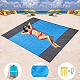 Hivernou Sand Free Beach Mat, Quick Drying Ripstop Nylon Compact Outdoor Beach Blanket Best Sand Proof Picnic Mat for Travel, Camping, Hiking and Music Festivals(82''×79'')