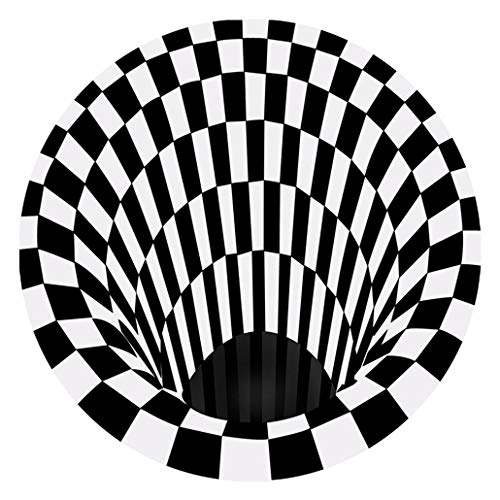 ZJM 3D Illusion Carpet Home Anti-Skid Rug, Black White Plaid Round Rugs Non-Woven Doormat Visual Vortex Floor Rug for Home Bedroom Living Dining Room,80 * 80cm