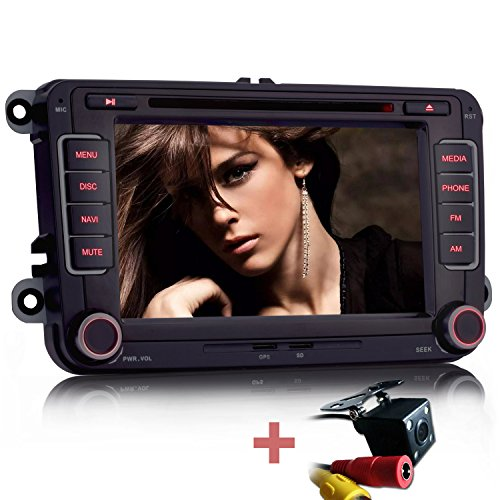 iFreGo 7 Zoll 2 Din Autoradio,Rückfahrkamera + Autoradio,Für VW Golf 5/6,Passat CC,Tiguan,Polo,Jetta,Skoda Fabia,Octavia,Yeti, Seat Leon,Touran,Candy, Sharan, Navigation,DVD GPS RDS USB SD Bluetooth