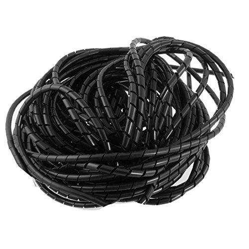 Copapa 21M 68 Ft PE Black Polyethylene Spiral Wire Wrap Tube PC Manage Cable 6mm 1/4 for Computer Cable, Car Cable (Dia 6MM-Length21M, Black)