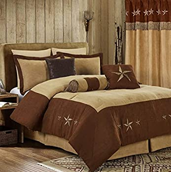 Chezmoi Collection 7 Pieces Western Star Embroidery Design Microsuede Bedding Oversized Comforter Set  Queen 92  x 96  Brown/Coffee