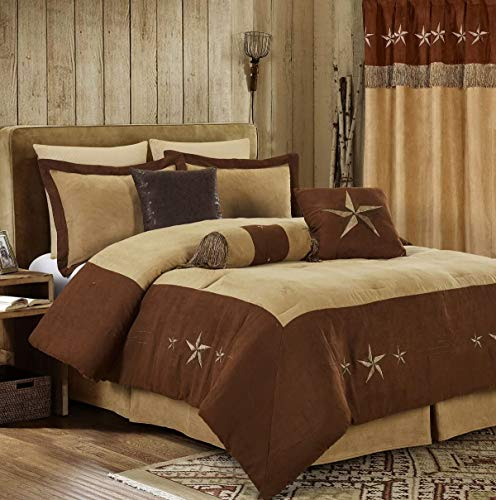 """Chezmoi Collection 7 Pieces Western Star Embroidery Design Microsuede Bedding Oversized Comforter Set (King 108"""" x 96"""", Brown/Coffee)"""