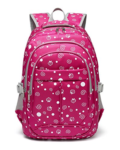 Strawberry and Dots Girls School Backpacks for kids Bookbags Children Elementary School Bags(Rose Red)
