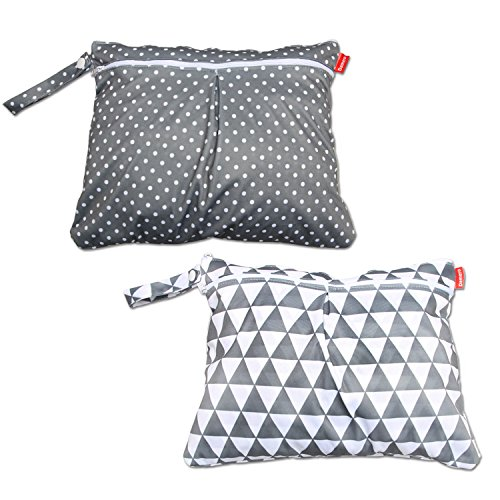 Damero 2pcs Travel Wet and Dry Bag with Handle for Cloth Diaper, Pumping Parts, Clothes, Swimsuit and More, Easy to Grab and Go (Small, Gray Triangle+ Gray Dots)