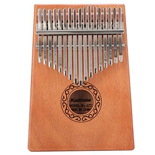 EXCEART Kalimba 17 Tasten Daumen Klavier Holz Daumen Klavier Tragbares Musikinstrument Geschenk für Kinder Anfänger Lerner (Schokolade)