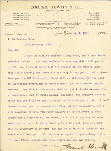 Mayor Abram S. Hewitt - Typed Letter Signed 04/28/1890