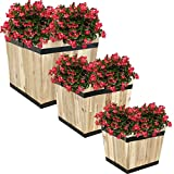 Sunnydaze Square Unfinished Acacia Wood Barrel Planters - Set of 3 - Decorative Modern Rustic Outdoor Standing Planters - Includes 11-Inch, 14-Inch and 16.75-Inch Square Pots