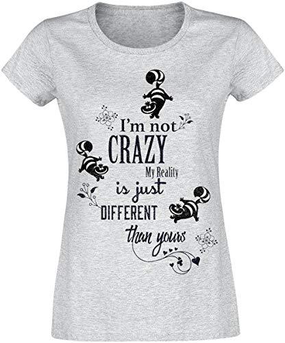 Alice Au Pays des Merveilles Le Chat du Cheshire - I'm Not Crazy Femme T-Shirt Manches Courtes Gris chiné XS