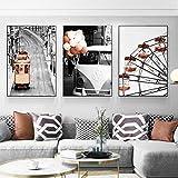 París Torre Ferris Rueda Coche Negro Blanco Pared Arte Lienzo Pintura Paisaje Poster y Impresiones Pared Cuadros para Salon Habitación Decoracion 40X60cmx3 No Enmarcado