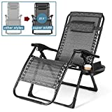 18 inch Higher Zero Gravity Chair, 29.5'' Oversize Width,350LBS Capacity Heavy Duty Folding Lounge Chairs with Cup Holder Tray and Carry Rope for Lawn Patio Beach Outdoor-XL Size (Extra-Wide Seats)