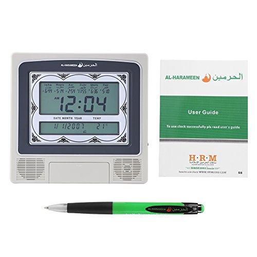 Oumefar Muslimische islamische Gebetsuhr , Silber Digitaler Kalender Zeitanzeige Betender Wecker Azan Athan Wanduhr mit Stift