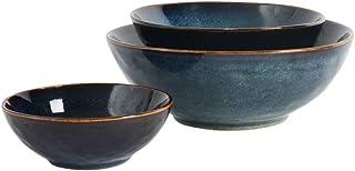 ProCook Vaasa - Vaisselle de table en Grès Bleu - Set 3 x Bols 14cm / 18cm / 23cm - Peint à la main - Avec Glaçure Réactive