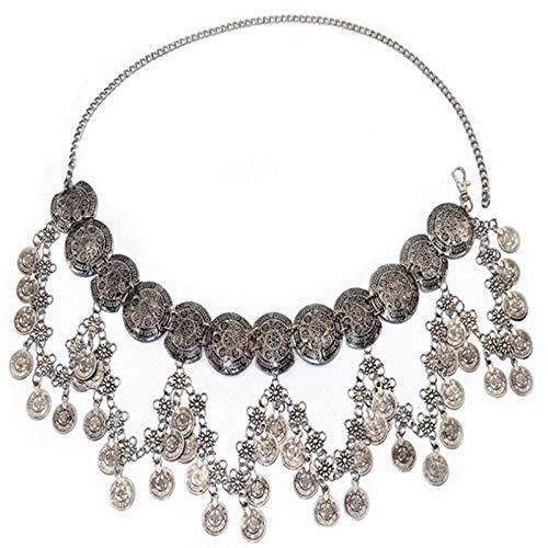 MLHXHX Vintage Belly Dance Waist Chain Metal Long Tassel Coin Waist Chain