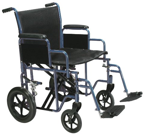 Drive Medical Bariatric Heavy Duty Transport Wheelchair | Swing-Away Footrest with 22-Inch seat | Blue