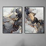 AdoDecor Schwarz und Gold Marmor Wanddekoration auf grau abstrakte Leinwand Malerei Wandkunst Druck Dekoration Bild 50x70cmx2 ungerahmt