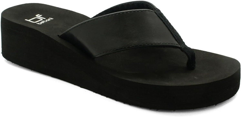 B&F Women's Comfy Flip Flops EVA Wedge Platform Thong Beach Sandals Black