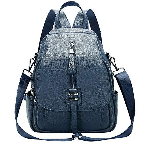 ALTOSY Weiches Echtes Leder Rucksack Tasche Damen Convertible Rucksäcke Umhängetasche (S85, Indigo Blau)