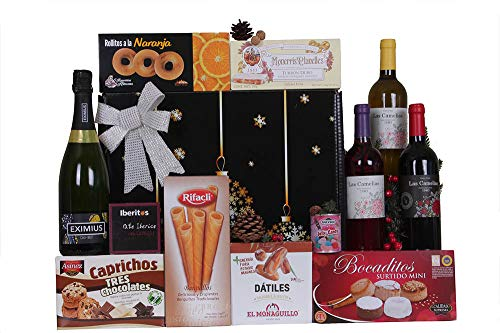 Estuche de Navidad CL�SICO con vinos, surtido de turrones y dulces