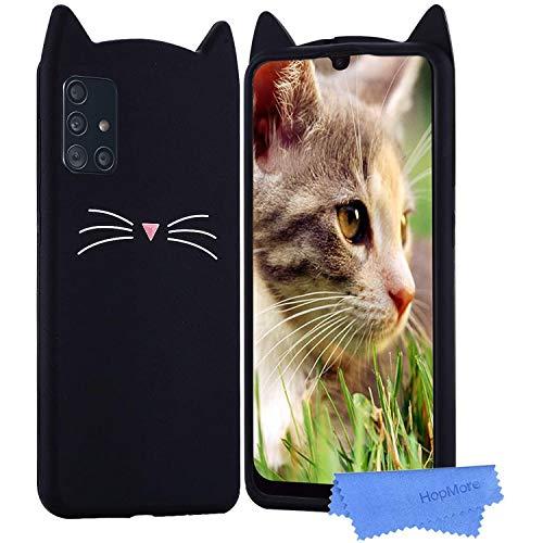 HopMore Kompatibel mit Samsung Galaxy A51 Silikon Hülle 3D Kawaii Kätzchen Tier Muster Stoßfest Galaxy A51 Handyhülle Schutzhülle Dünn Slim Case Cover - Schwarze Katze