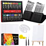 Acrylic Paint Brushes Set, 48 Piece Professional Painting Set, Includes 24 Acrylic Paints, 16 Pcs Paint Brushes with Case, 3pcs Canvas, Paint Knife, Sponge, Palette for Oil, Artists, Students and Kids