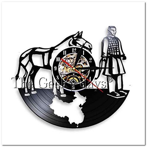 XMMwan Uhr chinesischen Terrakotta-Krieger Vinyl Schallplatte Wanduhr einzigartiges Geschenk Wanduhren Dekor