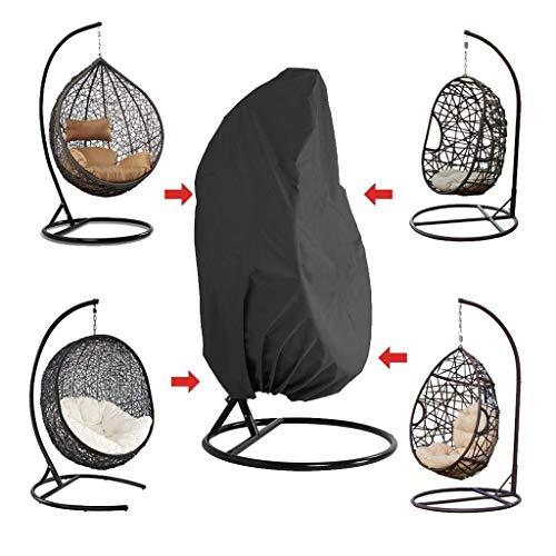 WILLQ Patio Egg Chair Cover Individual, Doble Funda De Silla Impermeable 210d Oxford Colgante Silla De Columpio Cubierta Impermeable Cubiertas De Muebles De Exterior,Negro,S
