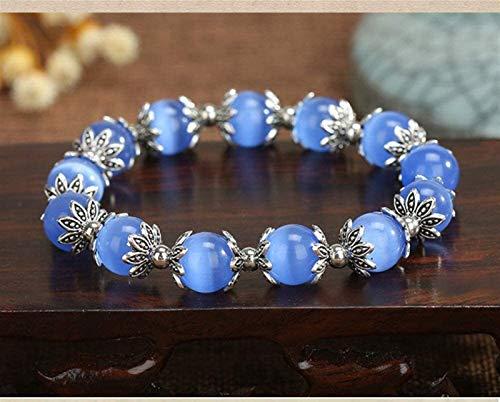 SUCICI Pulsera de Piedra Mujer, 7 Chakra Natural Blue Cat'S Eye Stone Beads Elastic Bangle Lotus Decoration Jewelry Yoga Energy Reiki Reza Charm Diffuser Regalo para Pareja