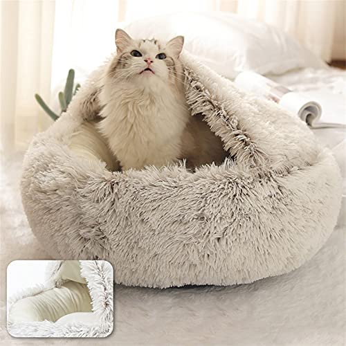 QWEQWE Peluche Round Cat Bed Cat Warm House Soft Long Llush Pet Dog Dog Dog para Perros Pequeños Cat Nest Mascota Cojín Cojín Sofá Sofá (Color : Coffee, Size : 40x40cm)