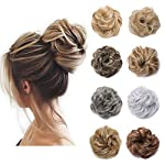 Beauty Shopping S-noilite [2Pcs] Messy Scrunchie Hair Bun Extension Elastic Rubber Band Fluffy Wavy